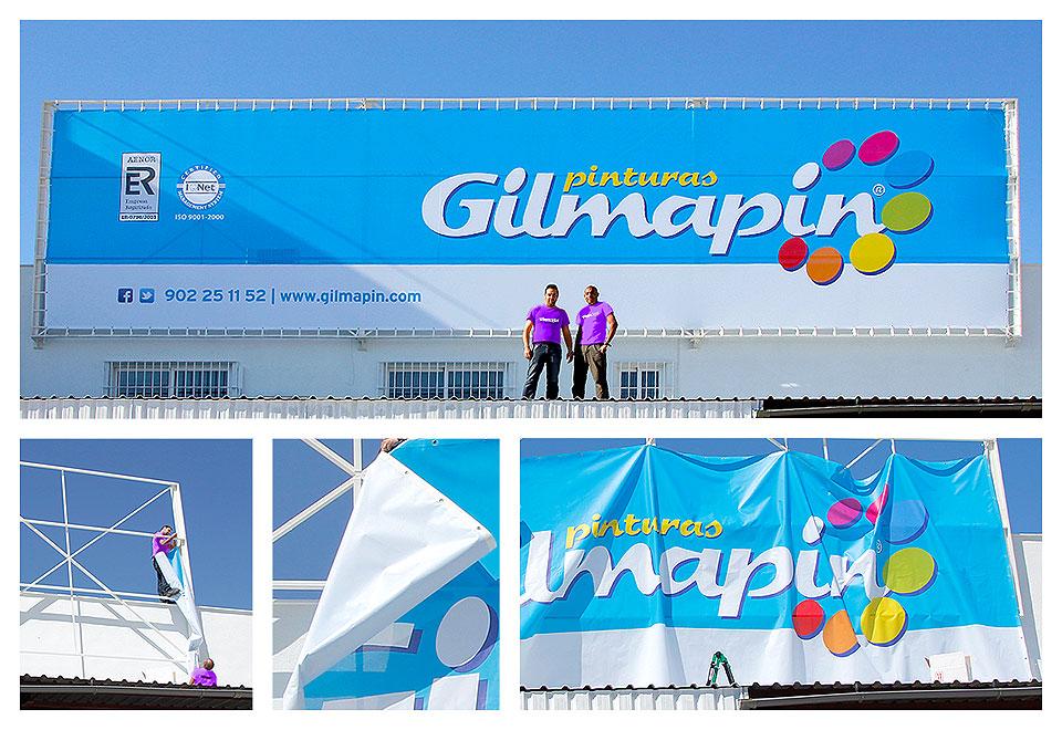 Diseño y Montaje de una gran lona en las instalaciónes de Gilmapin
